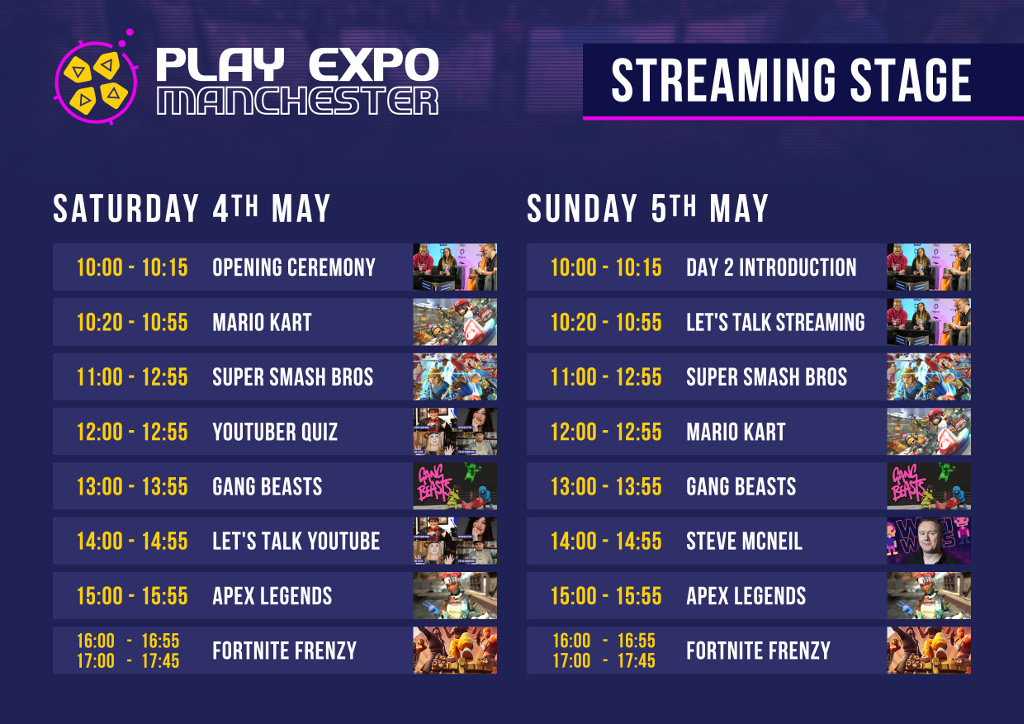 RE PlayExpo Manchester2019 Schedules Streaming